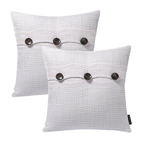 (Phantoscope Set of 2 Decorative Cream White Polyester Multiple Button Throw Pillow Case Cushion Cover 18 x 18 inch 45 x 45 cm)