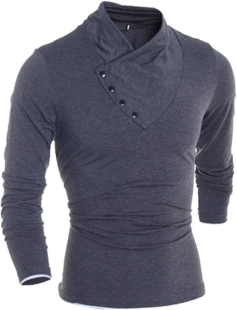 QINGMM Mens Long Sleeve T-Shirts Diagonal Button Slim T Shirt Comfortable High Stretch Bottoming Shirt