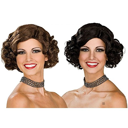 Flapper Wig Costume Accessory Adult Halloween (Brown Flapper Wig)