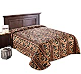 Quilted Bedspread Designed for Hotel/Motel-Resort-Air B&B & Home Over Sized 21'' Fall on Each Side 100% Polyester Fabric-Modern Print-Green-Throw/Flat Style-King 120x118''-6.6 lbs