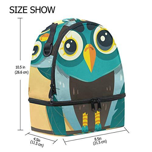 ajustable dibujos almuerzo el con de térmica para animados diseño Bolsa para hombro búhos el Alinlo correa con 1xAzOfHw