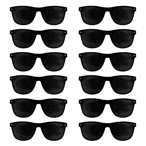 12 Pack Black Retro Sunglasses Bulk for Kids Adults Party Favors -