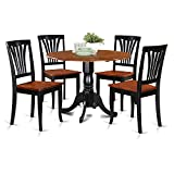 East West Furniture DLAV5-BCH-W 5-Piece Kitchen Table and Chairs Set, Black/Cherry Finish For Sale