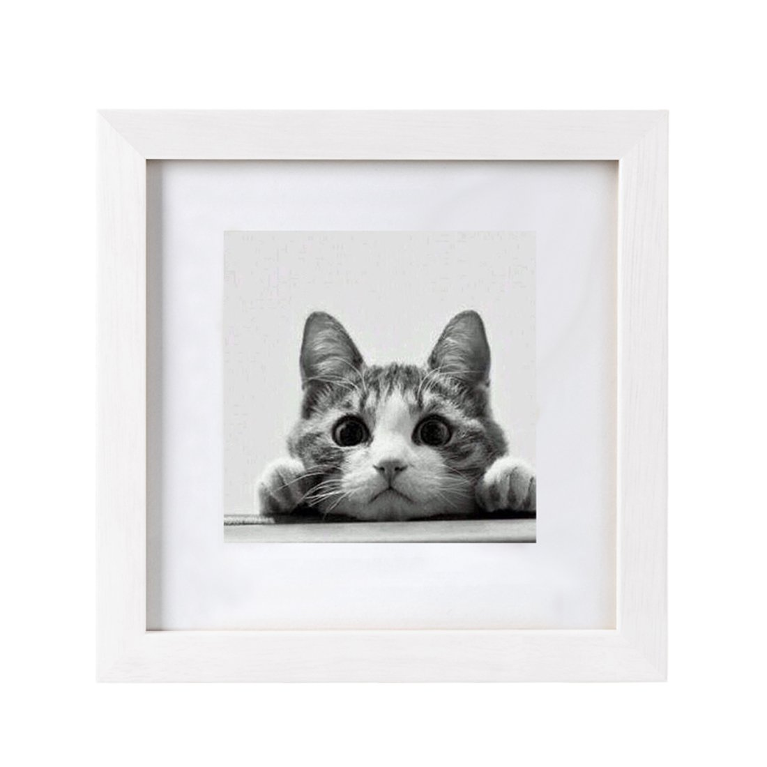 BOJIN 10x10 White Picture Frames Matted to 6x6 Wooden Photo Frames for Wall Hanging by BOJIN