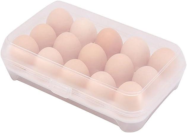 NUANNUAN Contenedor para huevos Bandeja de Almacenamiento refrigerador Cajón de Contenedores con Tapa Estuche Portátil Plástico Proteger Mantener Fresco (Blanco): Amazon.es: Hogar