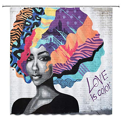 BCNEW African Lady Shower Curtain Decor Graffiti On Wall Colorful Afro Hair Orange Pink Purple Yellow Blue Black Girl Bathroom Curtain Polyester Fabric Machine Washable with Hooks 70x70 - Girls Purple Curtain For Shower