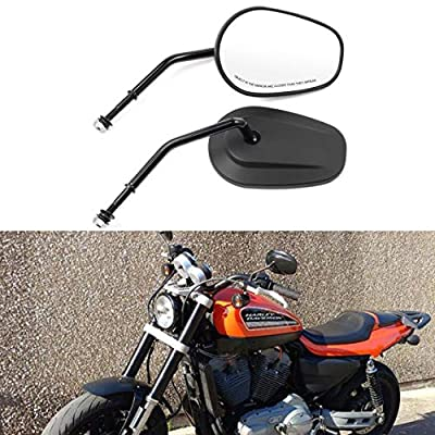 PBYMT Motorcycle Black Rear View Side Mirrors Compatible for Harley Softail Touring Road King Electra Street Glide 1982-2020: Automotive