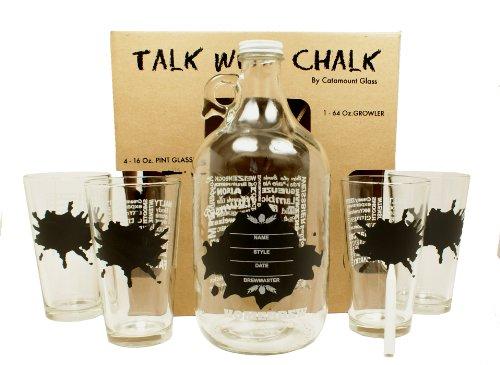 "Cheap Catamount Glassware 5-Piece ""Talk With Chalk"" Growler Set, Splatter Design"