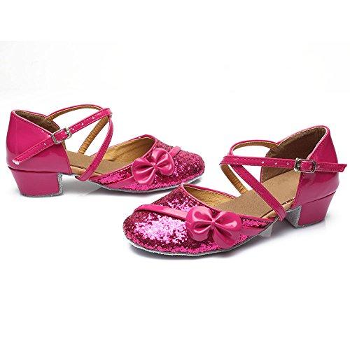 HROYL Mädchen Tanzschuhe/Latin Dance Schuhe Satin Ballsaal Modell-DS-208 Rose