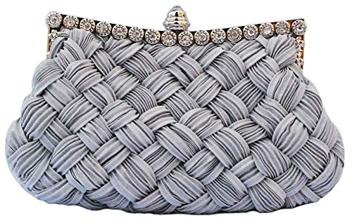 Chicastic Pleated and Braided Rhinestone studded Wedding Evening Bridal Bridesmaid Clutch Purse - Grey