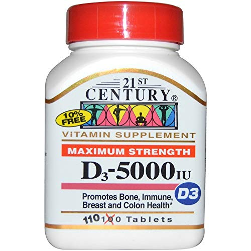 (21st Century D3-5000 IU Tablets Maximum Strength Tablets - 110 ct, Pack of 3)