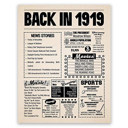 11x14 1919 Birthday Gift // Back in 1919 Newspaper Poster // 100th Birthday Gift // 100th Party Decoration // 100th Birthday Sign // Born in 1919 Print -