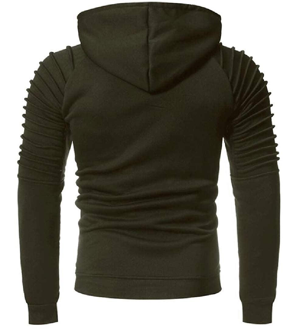 Zantt Mens Zip-Up Drawstring Casual Pleated Hoodie Pullover Sweatshirt