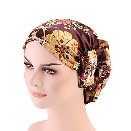(DuoZan Women's Satin Flower Elastic Band Turban Beanie Head Wrap Chemo Cap Hair Loss Hat (Coffee))