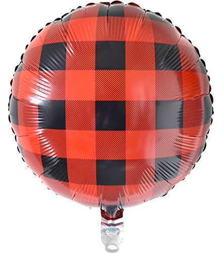 Club Pack Buffalo Plaid 18in Metallic Mylar Balloon Pack of 12 Balloons -