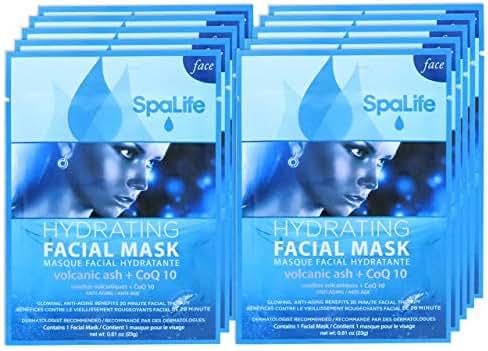 SpaLife Hydrating, Purifying, Anti-Aging, Detoxifying and Soothing Korean Facial Masks - 10 Masks (Volcanic Ash + CoQ10)