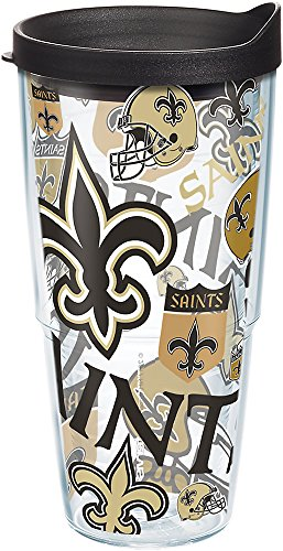 Tervis 1271081 NFL New Orleans Saints All Over Tumbler with Wrap and Black Lid 24oz, Clear
