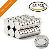 Refrigerator Magnets,45PCS Premium Brushed Nickel Fridge Round Magnets,Office Magnets by AULife - 8 X 3 mm