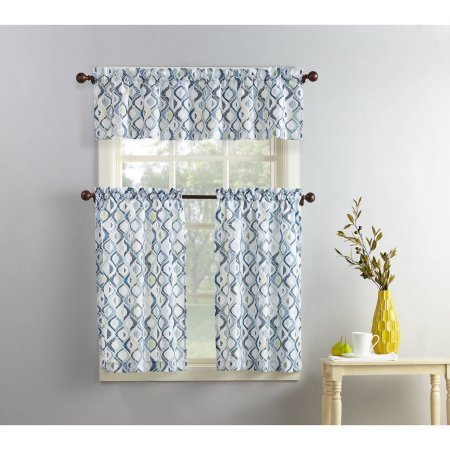 Eclipse Hot Tub (Curtain and Valence Set Classic Ogree Geometric Design In Cool Blue And Grey Tones)