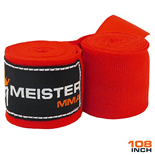"Meister Junior 108"" Elastic Cotton Hand Wraps for MMA & Boxing (Pair) - Red"