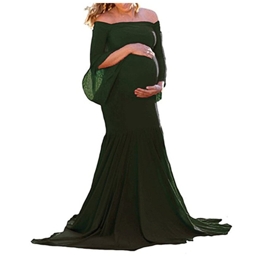 DHLP Women's Off Shoulder Ruffles Maternity Slim Fit Gown Maxi Dress Gown For Wedding Photo Shoot