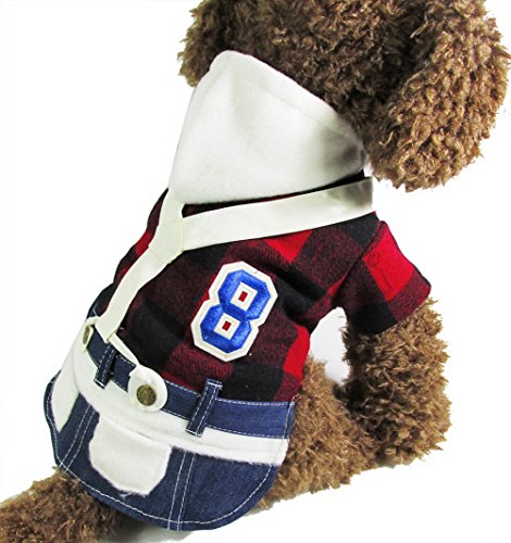 [ZUNEA Small Dog Clothes for Autumn College Wind Couple Clothes Plaid Dog Outfit Denim Overalls Dress Girl] (Best College Halloween Outfits)