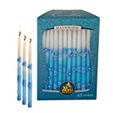 Ner Mitzvah Hanukkah Candles Handmade, Decorated Blue and White, 5.5 Inch - Box of 45