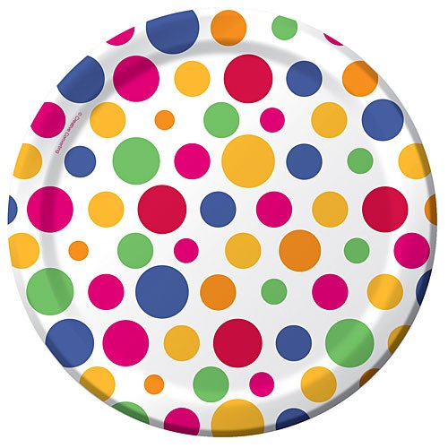 7' Cake Paper Plates - Party Dots Dessert Plates 8ct