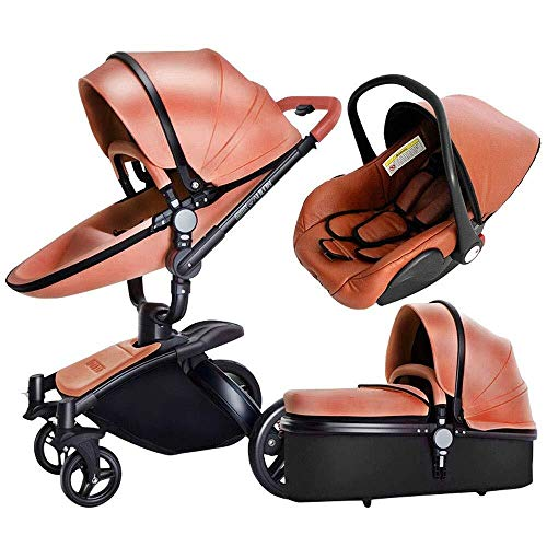 TZZ Luxury Baby Stroller High Landscape Foldable Pram Carriage with 5-Point Harness for Toddler Girls and Boys (Color : Brown)