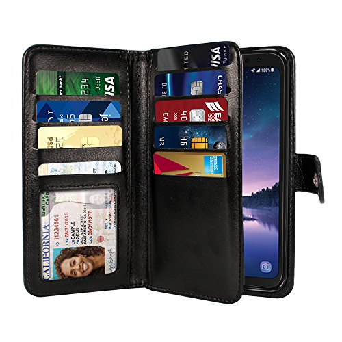 NEXTKIN Galaxy S8 ACTIVE Case, Leather Dual Wallet Folio TPU Cover, 2 Large Pockets Double flap Privacy, Multi Card Slots Snap Button Strap For Samsung Galaxy S8 ACTIVE G892A 5.8 inch - Black
