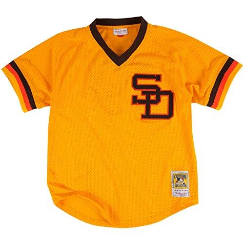 Ness Mlb Baseball Jersey - MLB Mitchell & Ness Tony Gwynn San Diego Padres 1982 Authentic Throwback Mesh Batting Practice Jersey - Gold (X-Large)