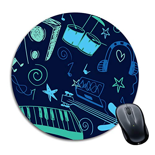 Tinywalk Blank Sheet Music Mousepad Waterproof Foldable Mouse Pad with Nonslip Base for Laptop & Desktop Mouse Round…