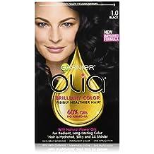 Garnier Olia Hair Color in 1.0 Black. Ammonia-Free, Oil-Powered, 3x Shine