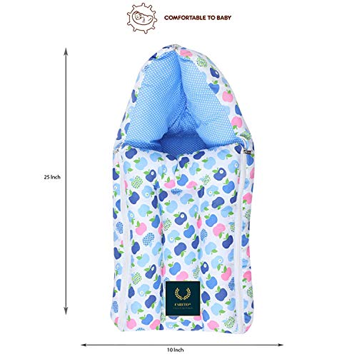 Fareto® Combo of Baby Mattress with Net | Sleeping Bag | 4 Pcs Bedding Set(0-6 Months)(PID: Blue Apple)