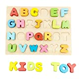 ABC Wooden Letters Blocks Alphabet Puzzle Board Kids Toddlers Preschool Early Learning Educational