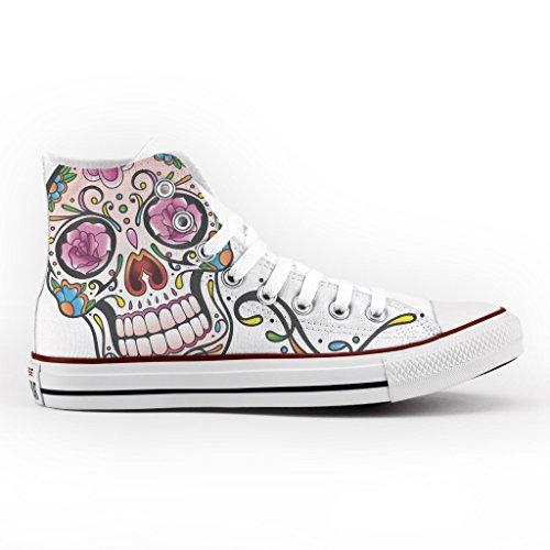 artigianale stampa con Personalizzate Converse Mexican Multicolor skull scarpa fEYwq