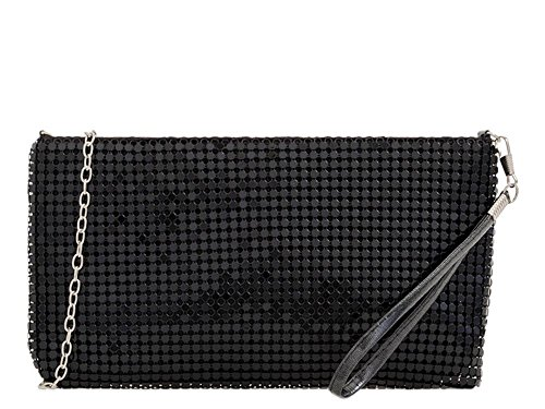 Bag Wristlet up Chain Black Strap Ladies Wrist Pouch Chainmail Make q81ggX