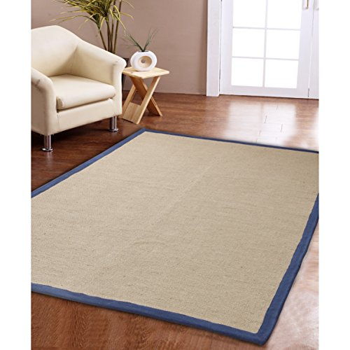 Affinity Home Collection Eco Natural Cotton Border Jute Rug (3' x 5') Navy/Beige Cotton Border Jute