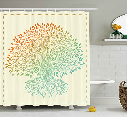 Ambesonne Tree Of Life Decor Collection Vintage Pattern Tribal Cultural Symbol Mandala Festive Stylized Image Polyester Fabric Bathroom