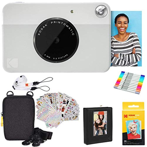 Kodak Printomatic Instant Camera (Grey) Gift Bundle + Zink Paper (20 Sheets) + Deluxe Case + 7 Fun Sticker Sets + Twin Tip Markers + Photo Album + Hanging Frames + Comfortable Neck Strap
