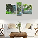 Custom Custom Oil Painting Print Nature River Waterfall Rocks Canvas Print Bedroom Wall Canvas Decoration Hotel Fashion Design Wall Art 5 Piece Oil Paintings Canvas (No Frame)