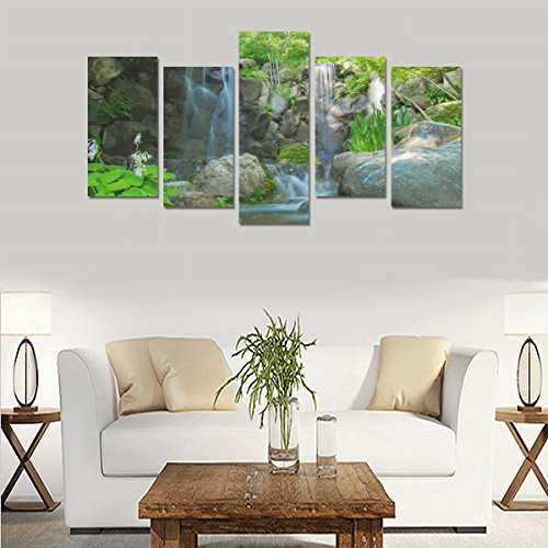 Custom Custom Oil Painting Print Nature River Waterfall Rocks Canvas Print Bedroom Wall Canvas Decoration Hotel Fashion Design Wall Art 5 Piece Oil Paintings Canvas (No Frame) by sentufuzhuang Canvas Printing