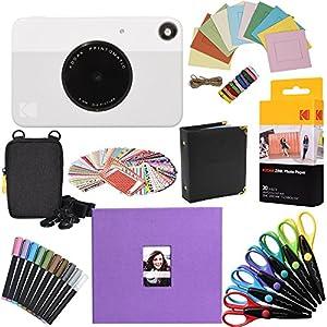 "Kodak Printomatic Instant Camera Gift Bundle + ZINK Paper (20 Sheets) + 8x8"" Cloth Scrapbook + Case + 6 Edged Scissors + 100 Sticker Border Frames + Markers + Hanging Frames + Album"