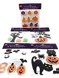 Halloween Ghost Bat Pumpkin Sticker Window Gel Clings - 4 Pack Set - Contains 54 Pieces Including ~Bonus~ Pack of Multi Designed Pumpkin Clings (9 Pieces)