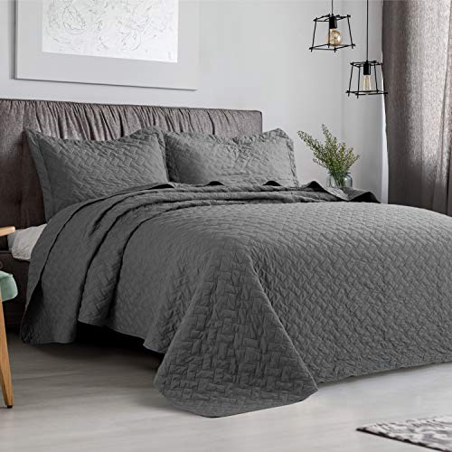 "Bedsure 3 Piece Reversible Quilt Set King Size (106""x96"") - Solid Stitched Pattern - Soft Microfiber Lightweight Coverlet Bedspread for All Season - Grey (Includes 1 Quilt, 2 Shams)"