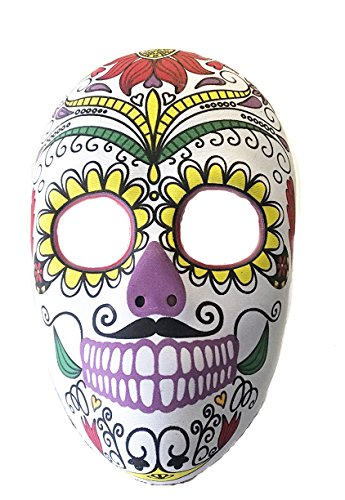 Day of The Dead Mask Día de Muertos Señor or Halloween Mens Face Costume Black