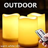 Outdoor Waterproof Remote Flameless Battery LED Pillar Candles, Made of Plastic, Won't Melt, Weather Resistant Design 3 x 4'' Set of 3