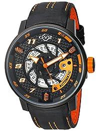 GV2 by Gevril Men's 1304 Motorcycle Sport Analog Display Automatic Self Wind Black Watch