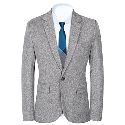 Men's Slim Fit Suits Casual One Button Flap Pockets Solid Blazer Jacket...