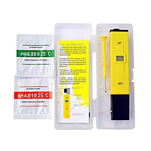 TEMANY PH Meter/ Digital PH Meter/ Mini Pocket Size Water Quality Tester for Hydroponics, Aquariums, Swimming Pools, High Accuracy 0.1PH Resolution - Extra PH Calibration Solution Mixture - Phosphate Mini Lab